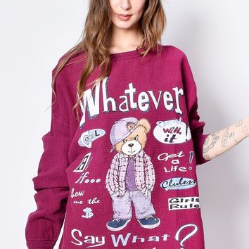 ECH Vintage Whatever Forever Thermal Oversized Top