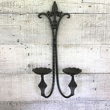 Candle Sconce Brass Pillar Candle Sconce Cast Metal Tealight Holder Hollywood Regency Sconce Black Candle Sconce Gothic Candle Holder