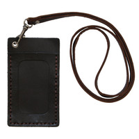 Genuine Leather Badge Holder ID Case Identification Holder Slim Wallet Window Leather Lanyard Cord Detachable Badge Cruise ID Case (A302)