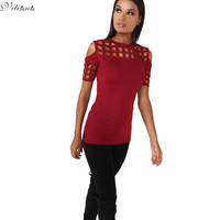 T-shirt Ladies Fashion Red Pink Black Hollow Out Slim Spring Summer Casual Hot Tees Tops