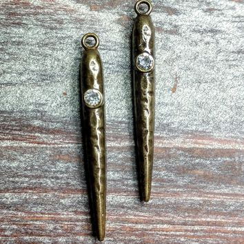 AB-0296 - Antique Brass Dagger Finding With Crystal, 4x42mm | Pkg 2