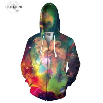 New Arrive 3D Galaxy Space Zip-up Hoodie Multicolor Nebula Hooded Men Women Fashion Outwear Clothing Full Print Long Sleeve Tops