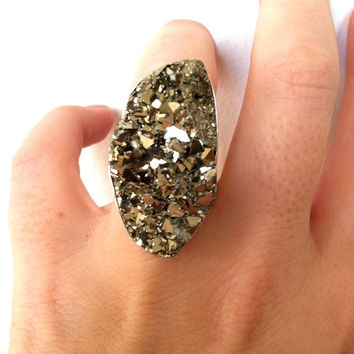 Pyrite Ring - Sparkly Ring made with Fools Gold and Sterling Silver- Raw Gemstone Statement Ring