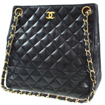 CHANEL Matelasse Quilted Chain Shoulder Bag Black Leather Vintage Auth #G456 M