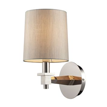 31330/1 Jorgenson 1 Light Wall Sconce In Polished Nickel And Taupe Wood