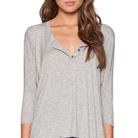 dolan 3/4 Sleeve Henley Tee in Gray