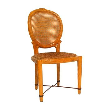 Pre-owned Spanish Carved Faux Bois Chair