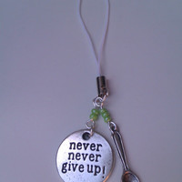 Lyme disease silver, white and lime green beaded hope and spoon charm, phone charm, keychain, keyring