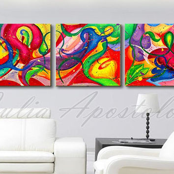 original art abstract painting, triptych, modern floral abstract painting, wall decor, triptych art, colorful, flowers, red, yellow, purple