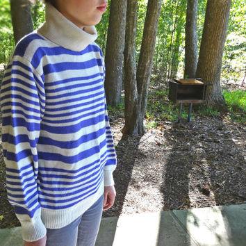 1980s Turtleneck Sweater Purple Striped - Baggy Medium / Large Size Vintage Knit by Country Suburbans British Crown Colony of Hong Kong