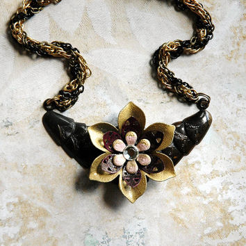 Tribal Flower Necklace Tribal Art Deco Enamel by bionicunicorn