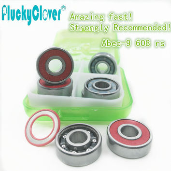 Amazing fast!8pc ABEC9 Skateboard wheel Bearing red s 608rs Mini Ball Bearing Red Seal for Inline roller Skates skateboard parts