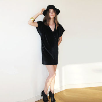 Mini Oversize Velvet Dress, Short black dress, Black velvet dress