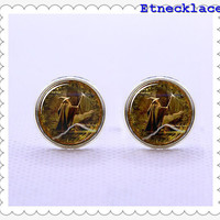 Cufflinks,The Lord Of the Ring  Cufflinks  ,wizard silvery cufflinks ,for Father  Men  gift