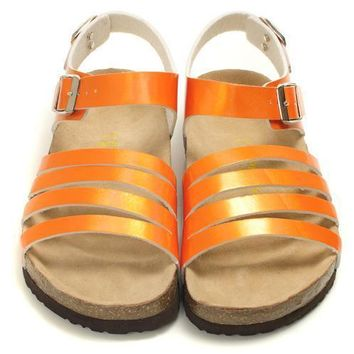 Birkenstock Leather Cork Flats Shoes Women Casual Sandals Shoes Soft Footbed Slippers-1