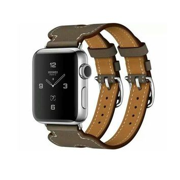 New Genuine Leather Double Buckle Cuff Band For iwatch 1 2 Apple Watch hermes strap 38mm 42mm Wrist  Bracelet Leather watchband