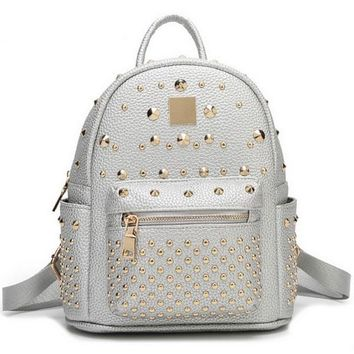 2017 New Women Trendy Preppy Style Faux Leather Allover Studs Backpack