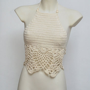 Festival long crochet top. Light beige halter top, hippie retro halter top, summer beige tank, summer wear, festival top, crochet tank.