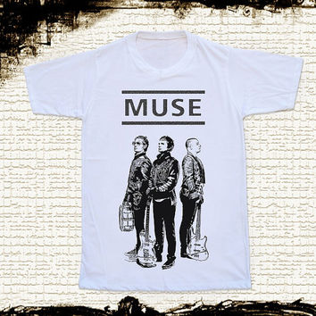 Size S -- MUSE BAND T Shirts Muse T Shirts Alternative Rock T Shirts Unisex T Shirts Women T Shirts White T Shirts Rock Shirts