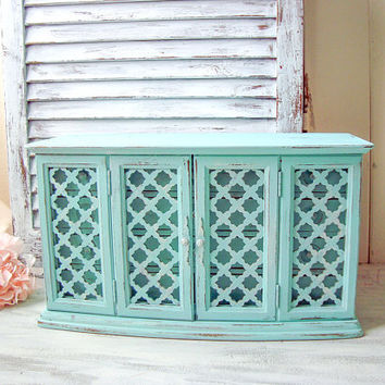 Aqua Vintage Jewelry Box, Large Teal Jewelry Holder, Big Wooden Jewelry Chest, Shabby Chic Blue Jewelry Box, Beach Chic Wood Jewelry Holder