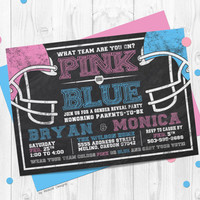 Football Gender Reveal Invitation, pink vs blue, chalkboard, gender reveal, reveal invitation, football gender reveal party, reveal party