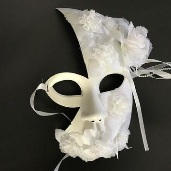 DKF4S Handmade white masquerade masks lace floral decor latex female  half face mask party wedding mask