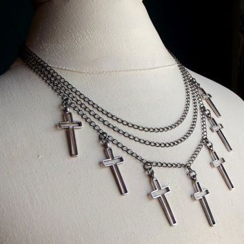Multi Cross Necklace:  Triple Strand Chain, Layered Bib, Silver Charm, Rocker Gothic Edgy Jewelry