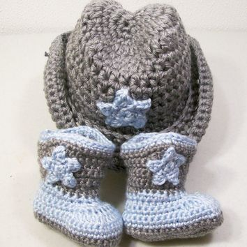 Western Hat and Boots -Baby Boy Cowboy Gift Set-Blue and Gray--Baby Shower Gift-PLEASE STATE SIZE