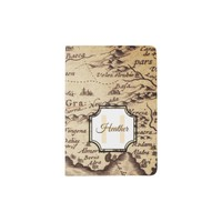 Vintage Map | Initial Letter Monogram and Name Passport Holder