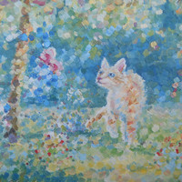 Funny Tabby Cat original Oil Painting Red Kitty and Butterfly Landscape Animal Pet Portrait Impression Handmade Art Miniature Interior Decor