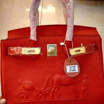 DCCK 008 Hermes horse-drawn cart Leather Fashion Handbag 30-22-16CM Red