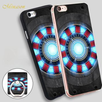 Minason Iron Man Arc reactor Mobile Phone Shell Soft TPU Silicone Case Cover for iPhone X 8 5 SE 5S 6 6S 7 Plus