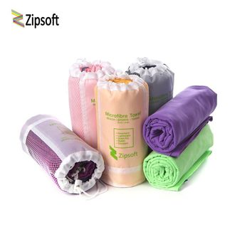 Zipsoft Beach towel Washrag Microfiber Fabric Quick Dry Mesh Bag Sports Travel Hiking Camp Gym Pool Bath Yoga Mat Blanket Newly
