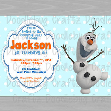Disney Frozen Birthday Party Invitations! Custom Personalized Olaf Invitations. 24hr turn-around. Printable 4x6 or 5x7 image!