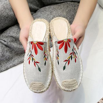 Women Casual Embroidery Weave Fisherman Shoes Half Drag Slippers Flats Shoes