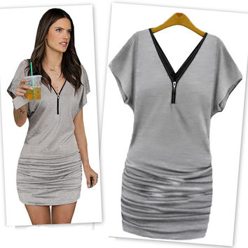 Gray Zip V-Neck Ruched Mini Dress