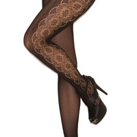 Opaque Pantyhose with Floral Pattern Sides