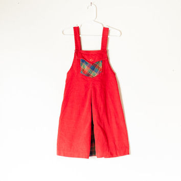 Vintage 80s Jumper | 6X Plaid Dress Overalls Red Dress Girls Dress Toddler Dress Baby Girl Retro Baby Clothes Hipster Kids 80s Dress 70s