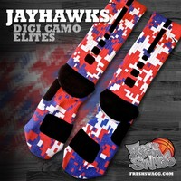 Custom Nike Elite Socks - Freshswagg.com — Nike Elite Jayhawks Digital Camo Crew Socks