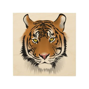 Tiger Head Wood Wall Art