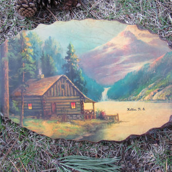 1940s 1950s Rustic Wooden Wall Art / Crosscut Wood Wall Decor / Log Cabin Wooden Plaque / Cabin Decor Tree Wood Bark Lithograph