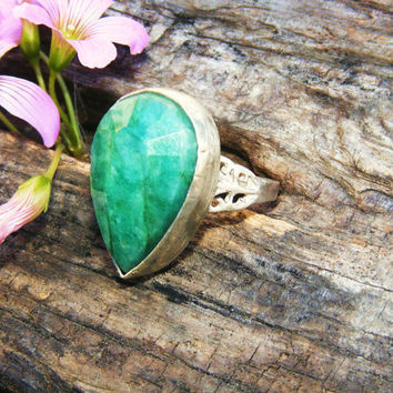 Large Natural Untreated Emerald Cocktail Ring in Sterling Silver