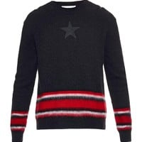 Indie Designs Black Stars And Stripes Mohair-Blend Sweater