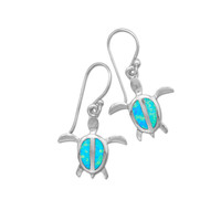 Blue Opal Sea Turtle Dangle Earrings