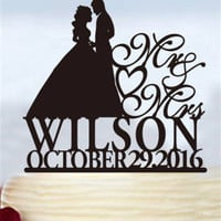 Wedding Cake Topper Silhouette,Personalized MR & MRS ,Custom Cake Topper Ring cake topperlast name Cake Topper,birthday Cake Decoration