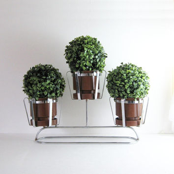 Vintage 3 Pot Chrome Planter - Mid Century Modern Home Decor - Indoor Garden Plant Stand - Succulents Topiary Round Pots