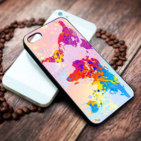 world map colorful Iphone 4 4s 5 5s 5c 6 6plus 7 case / cases