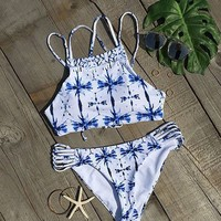 Cross Printed Gradient Bikini Sexy Ladies Swimsuit Suit Bathing Swimwear