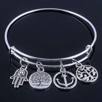 DCCKFV3 Hot sale plated silver bracelets bangles adjustable expandable wire bracelets with anchor & life trees charms jewelry for women