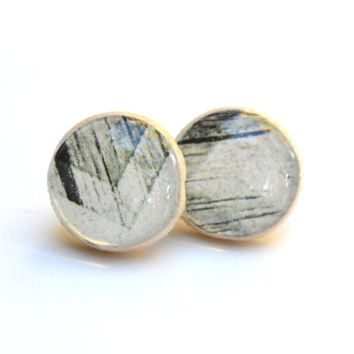 Black and white chevron studs wood studs post earrings  eco friendly jewelry earrings wood earrings jewelry for her